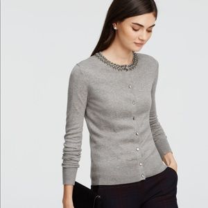 Ann Taylor Gray embellished cardigan sweater med